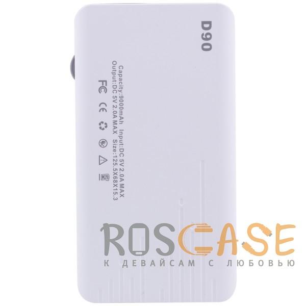 Фотография Белый / Оранжевый SunPin D90   Портативное зарядное устройство Power Bank с дисплеем (9000mAh 1USB + встроенный кабель microUSB)