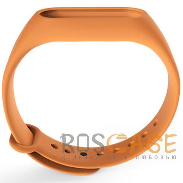 Фотография Оранжевый Одноцветный силиконовый ремешок для фитнес-браслета Xiaomi Mi Band 2