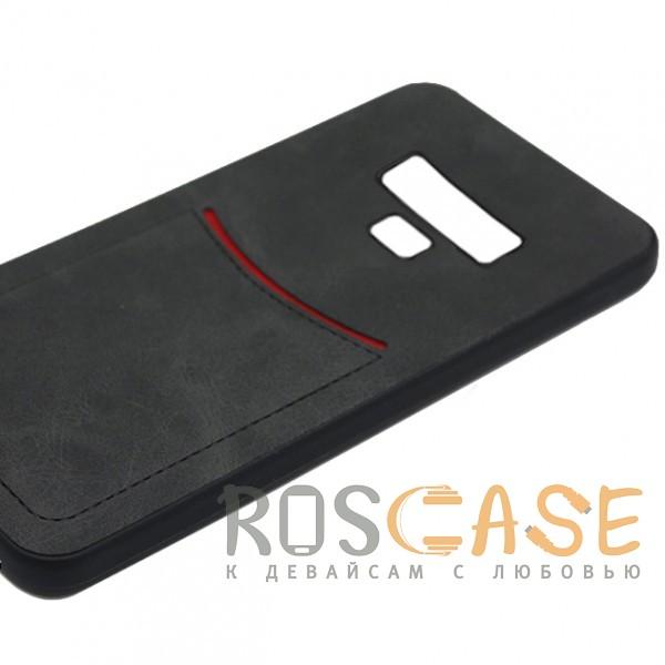 Фото Черный ILEVEL | Чехол с кожаным покрытием и с карманом-визитницей для Samsung Galaxy Note 9