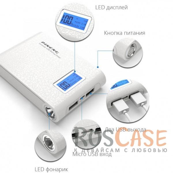 Фотография Белый Портативное зарядное устройство в противоударном обтекаемом корпусе с ЖК дисплеем и LED-фонариком 10000mAh (2 USB)