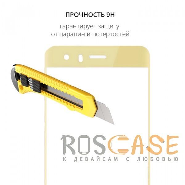 Фотография Золотой Защитное стекло с цветной рамкой на весь экран для Huawei Honor 9