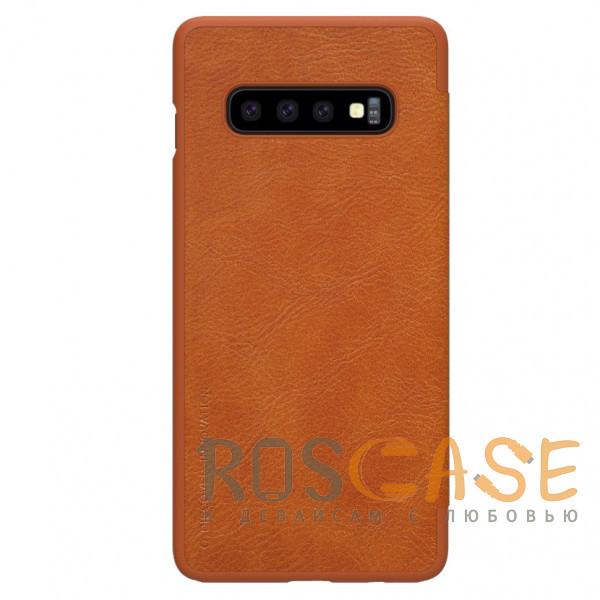 Фотография Коричневый Nillkin Qin   Кожаный чехол книжка для Samsung Galaxy S10e