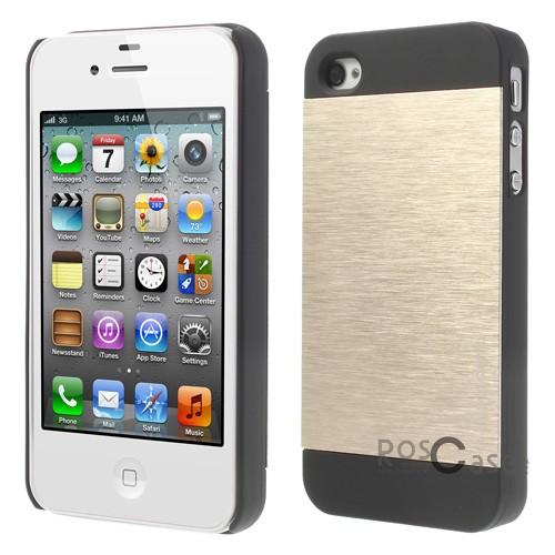 фото накладка MOTOMO с алюминиевой вставкой v2 для Apple iPhone 4/4S