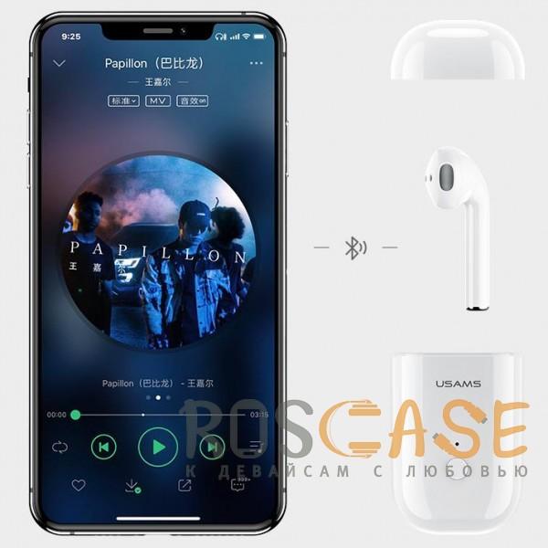 Фото Белый USAMS-LB (МОНО) | Беспроводной наушник Bluetooth с микрофоном и кейсом подзарядкой (Док-станция)