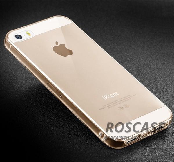 Тонкий прозрачный силиконовый чехол Msvii для Apple iPhone 5/5S/SE с заглушкой (Золотой)Описание:совместимость: Apple iPhone 5/5S/SE;форм-фактор: накладка;материал: силикон.Преимущества:не деформируется;надежная фиксация;легко очищается;износостойкий;присутствуют все функциональные вырезы;наличие заглушки;элегантный дизайн.<br><br>Тип: Чехол<br>Бренд: Epik<br>Материал: TPU