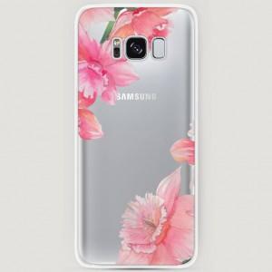 RosCase | Силиконовый чехол Розовые цветочные уголки на Samsung G955 Galaxy S8 Plus