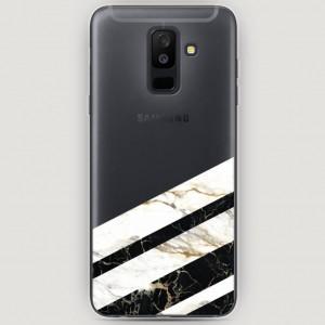 RosCase | Силиконовый чехол Черно-белый мрамор половинка на Samsung Galaxy A6 Plus (2018)