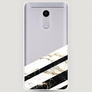 RosCase | Силиконовый чехол Черно-белый мрамор половинка на Xiaomi Redmi Note 4X / Note 4 (Snapdragon)