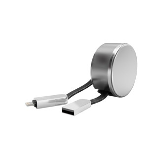 LDNIO LC90 | Дата кабель с двойным разъемом MicroUSB/Lightning 2.4A с блоком для хранения кабеля (1 метр)