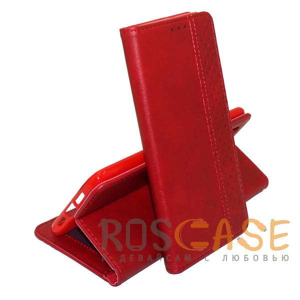Фото Красный Business Wallet   Кожаный чехол книжка с визитницей для Huawei Y8P / P Smart S