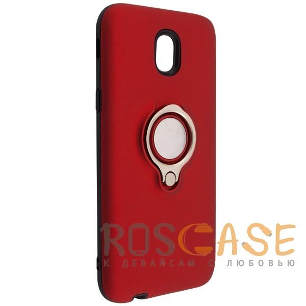 Изображение Красный Deen | Матовый чехол для Samsung J330 Galaxy J3 (2017) с креплением под магнитный держатель и кольцом-подставкой