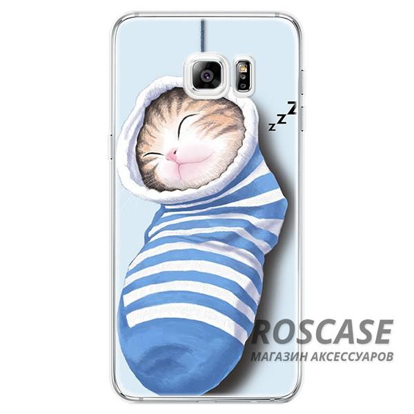 Тонкий силиконовый чехол с принтом Милые котята для Samsung Galaxy S6 Edge Plus (Котенок в носке)Описание:совместимость  -  смартфон Samsung Galaxy S6 Edge Plus;материал  -  силикон;форм-фактор  -  накладка.Особенности:оригинальный дизайн;обладает хорошей гибкостью и эластичностью;не деформируется;легко фиксируется;не скользит в руках.<br><br>Тип: Чехол<br>Бренд: Epik<br>Материал: TPU