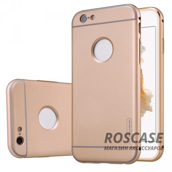 Прочная металлическая накладка с автодержателем (2 в 1) и олеофобным покрытием для Apple iPhone 6/6s (4.7) (Золотой)Описание:производитель  - &amp;nbsp;Nillkin;совместим с Apple iPhone 6/6s (4.7);материал  -  металл;тип  -  накладка.&amp;nbsp;Особенности:прочная;в комплекте автомобильный держатель;олеофобное покрытие;окошко для логотипа;защищает от механических повреждений;функция подставки.<br><br>Тип: Чехол<br>Бренд: Nillkin<br>Материал: Металл