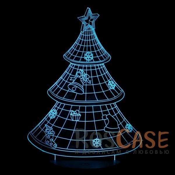 """Фото Ёлка НГ Светодиодный 3D светильник-ночник с проекцией объемного изображения """"Новогодняя ёлка"""""""