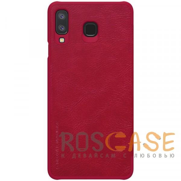 Фотография Красный Nillkin Qin натур. кожа | Чехол-книжка для Samsung Galaxy A8 Star (A9 Star)