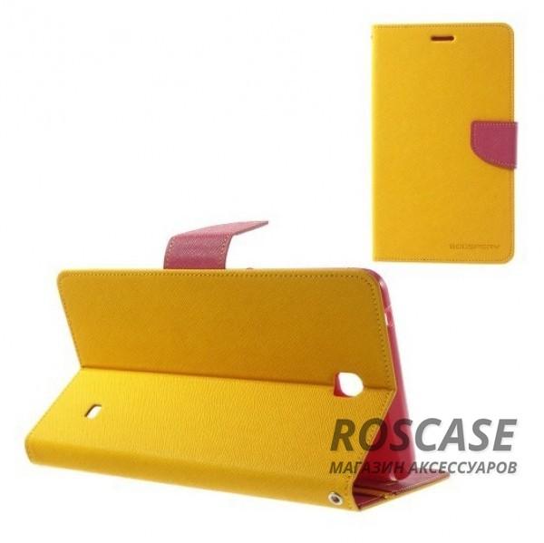 Чехол (книжка) Mercury Fancy Diary series для Samsung Galaxy Tab 4 7.0 (Желтый / Малиновый)Описание:производитель  -  бренд&amp;nbsp;Mercury;совместим с Samsung Galaxy Tab 4 7.0;материалы  -  искусственная кожа, термополиуретан;форма  -  чехол-книжка.&amp;nbsp;Особенности:рельефная поверхность;все функциональные вырезы в наличии;внутренние кармашки;магнитная застежка;защита от механических повреждений;трансформируется в подставку.<br><br>Тип: Чехол<br>Бренд: Mercury<br>Материал: Искусственная кожа