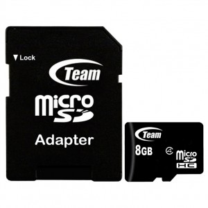 Team | Карта памяти microSDHC 8 GB Card Class 10 + SD adapter для Подарки для парня