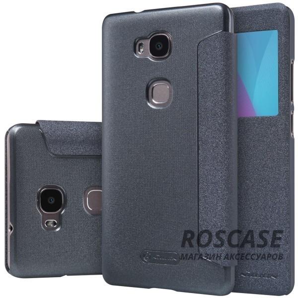 Кожаный чехол (книжка) Nillkin Sparkle Series для Huawei Honor 5X / GR5 (Черный)Описание:изготовлен фирмой&amp;nbsp;Nillkin;подходит для Huawei Honor X5 / GR5;тип материала: качественная синтетическая кожа;вид чехла: книжка.Особенности:полное соответствие гаджету;окошко в обложке;функция Sleep mode;высокая степень защиты;особая внутренняя отделка;наличие дополнительных функций.<br><br>Тип: Чехол<br>Бренд: Nillkin<br>Материал: Искусственная кожа