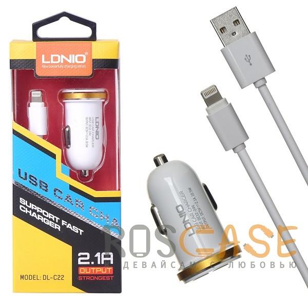 Изображение Белый LDNIO DL-C22 | Автомобильное зарядное устройство на 2 USB с кабелем Lightning в комплекте