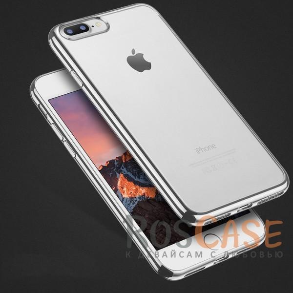 """Фото Серебряный Силиконовый чехол для Apple iPhone 7 plus / 8 plus (5.5"""") с глянцевой окантовкой"""