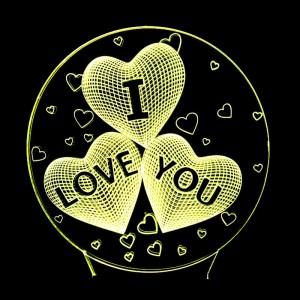 """Светодиодный 3D светильник-ночник с проекцией объемного изображения """"I Love You"""""""