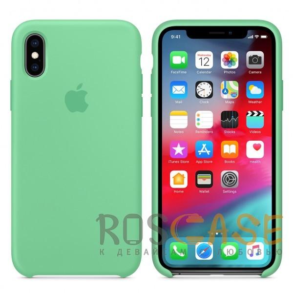 Фото Светло-зеленый «Нежная мята» Чехол Silicone Case для iPhone X
