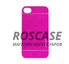 Накладка MOTOMO с алюминиевой вставкой для Apple iPhone 4/4S (Малиновый)Описание:компания-производитель: MOTOMO;совместим с Apple iPhone 4/4S;используемые материалы: поликарбонат, алюминий;форма: накладка.&amp;nbsp;Особенности:ультратонкое исполнение;полный набор функциональных вырезов;высокий уровень защиты;алюминиевая декоративная вставка;плотное прилегание;надежная фиксация.<br><br>Тип: Чехол<br>Бренд: Epik<br>Материал: Металл