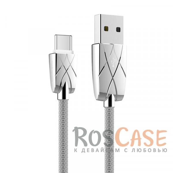 Кабель ROCK (Metal) USB to Type-C (Серебряный / Silver)Описание:бренд&amp;nbsp;Rock;материал - металл;тип&amp;nbsp; - &amp;nbsp;дата кабель;совместимость: устройства с разъемом Type C.Особенности:гибкий и пластичный;прочная металлическая оплетка;длина&amp;nbsp;кабеля - 100 см;сила тока - 2 A;разъемы -&amp;nbsp;Type C, USB 2.0;высокая скорость передачи данных;совмещает три в одном: синхронизация данных, передача данных, зарядка;устойчив к воздействию низких температур.<br><br>Тип: USB кабель/адаптер<br>Бренд: ROCK