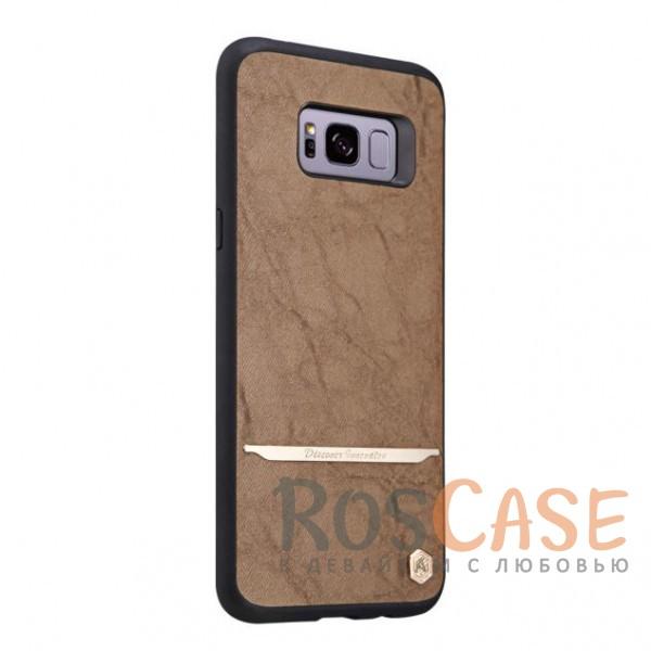 Стильный защитный чехол-накладка с покрытием из искусственной кожи и металлической вставкой для Samsung G955 Galaxy S8 Plus (Черный / Коричневый)Описание:бренд -&amp;nbsp;NIllkin;материалы - термополиуретан, поликарбонат, искусственная кожа;разработан для Samsung G955 Galaxy S8 Plus;в наличии все необходимые вырезы;защита от ударов и царапин;не скользит в руках;внешняя отделка из искусственной кожи;приподнятые бортики для защиты камеры.<br><br>Тип: Чехол<br>Бренд: Nillkin<br>Материал: TPU