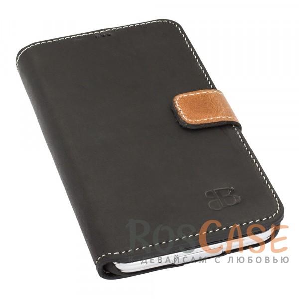 Изображение Прошитый чехол-книжка из натуральной кожи с отсеками для пластиковых карт и магнитной застежкой для Samsung G925F Galaxy S6 Edge