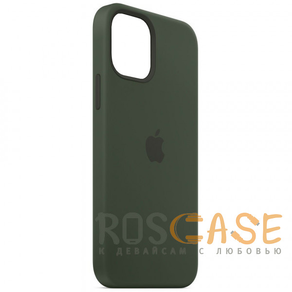 Фотография Темно зеленый Силиконовый чехол Silicone Case с микрофиброй для iPhone 12 Pro Max