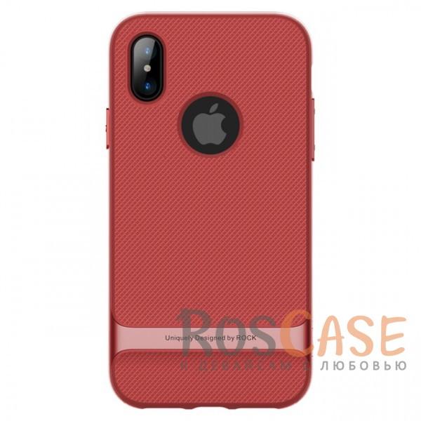 Двухслойный чехол Rock Royce для Apple iPhone X (5.8) (Красный / Red)Описание:производитель -&amp;nbsp;Rock;совместимость - Apple iPhone X (5.8);материалы - термополиуретан, поликарбонат;двухслойная конструкция;защита от ударов;не заметны отпечатки пальцев;дублирующие клавиши защищают кнопки;защита камеры от царапин;предусмотрены все необходимые функциональные вырезы.<br><br>Тип: Чехол<br>Бренд: ROCK<br>Материал: TPU