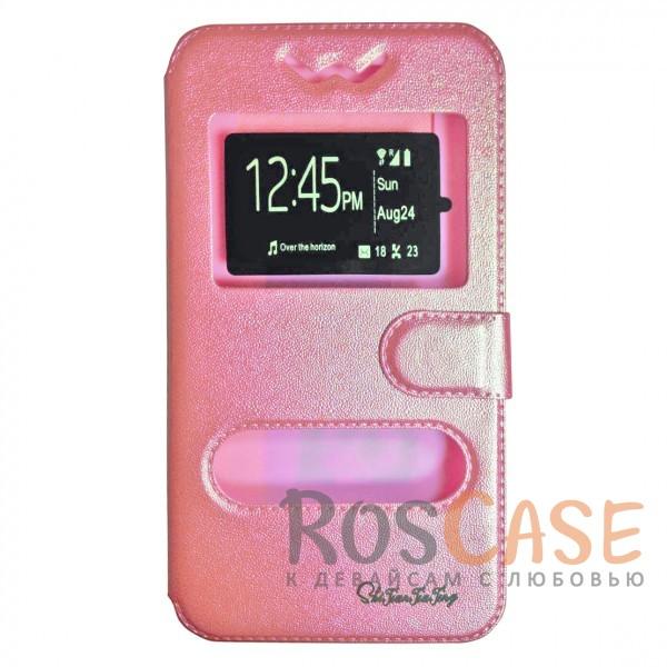 Универсальный чехол-книжка с двумя окошками и магнитной застежкой для смартфона 5.5-6.0 дюймов (Розовый)Описание:совместимость -&amp;nbsp;смартфоны с диагональю 5.5-6.0&amp;nbsp;дюймов;материалы - силикон, искусственная кожа;тип - чехол-книжка;защищает гаджет со всех сторон;магнитная застежка;два окошка в обложке;предусмотрены все функциональные вырезы;ВНИМАНИЕ: убедитесь, что ваша модель устройства находится в пределах максимального размера чехла. Размеры чехла: 15,5*8 см.<br><br>Тип: Чехол<br>Бренд: Epik<br>Материал: Искусственная кожа