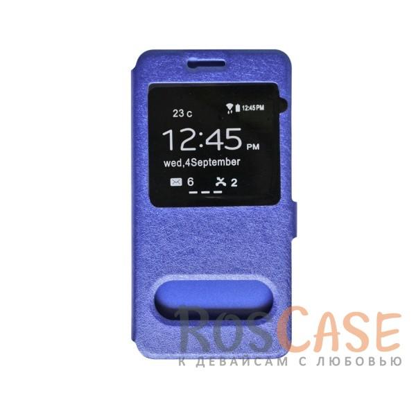 Чехол-книжка подставка на пластиковой основе с окном вызова на магнитной застежке для Meizu MX6 (Синий)<br><br>Тип: Чехол<br>Бренд: Epik<br>Материал: Искусственная кожа