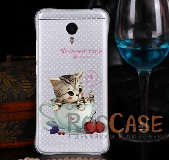 TPU чехол Sweet Art для Meizu M3 Note (с усиленными углами) (Котенок в чашке)<br><br>Тип: Чехол<br>Бренд: Epik<br>Материал: TPU