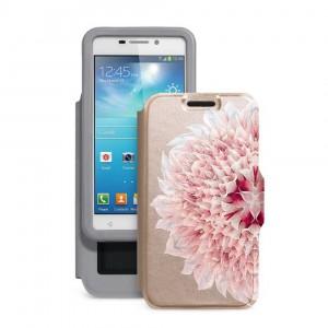 "Gresso ""Калейдоскоп Георгин"" |  женский чехол-книжка с принтом цветка для Samsung Galaxy Core Advance (i8580)"