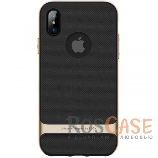Двухслойный чехол для Apple iPhone X (5.8) (Черный / Золотой)Описание:производитель -&amp;nbsp;Rock;совместимость - Apple iPhone X (5.8);материалы - термополиуретан, поликарбонат;двухслойная конструкция;защита от ударов;не заметны отпечатки пальцев;дублирующие клавиши защищают кнопки;защита камеры от царапин;предусмотрены все необходимые функциональные вырезы.<br><br>Тип: Чехол<br>Бренд: ROCK<br>Материал: TPU