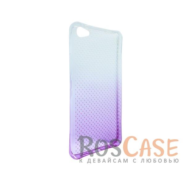 Изображение Фиолетовый Гибкий чехол для Meizu U20 из прозрачного силикона с градиентным цветным напылением