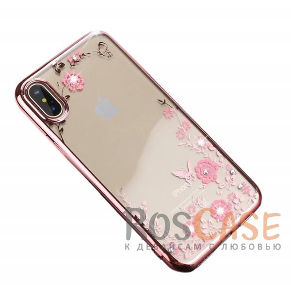 Прозрачный чехол с цветами и стразами для Apple iPhone X (5.8) с глянцевым бампером (Розовый золотой/Розовые цветы)Описание:совместимость - Apple iPhone X (5.8);глянцевая окантовка, цветочный узор;материал - TPU;тип - накладка;защита от царапин, трещин, ударов;легко устанавливается;не скользит в руках;не заметны отпечатки пальцев;все необходимые функциональные вырезы.<br><br>Тип: Чехол<br>Бренд: Epik<br>Материал: TPU