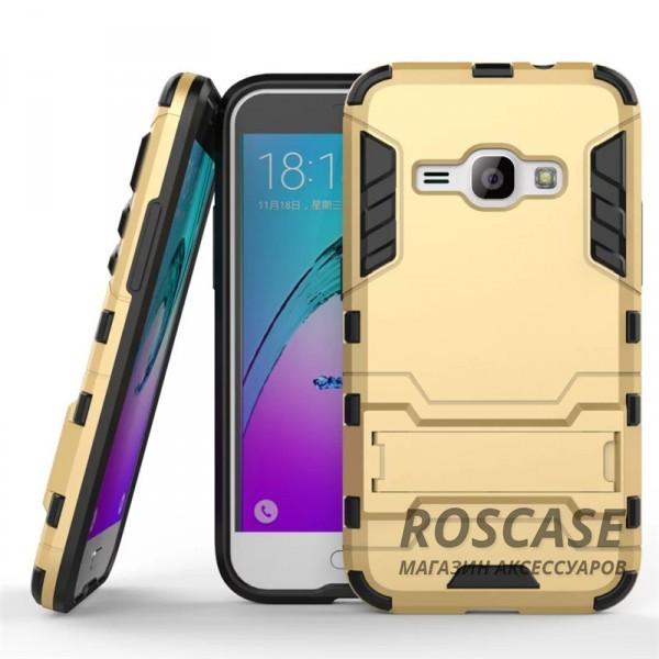 Ударопрочный чехол-подставка Transformer для Samsung J120F Galaxy J1 (2016) с мощной защитой корпуса (Золотой / Champagne Gold)Описание:подходит для Samsung J120F Galaxy J1 (2016);материалы: термополиуретан, поликарбонат;формат: накладка.&amp;nbsp;Особенности:функциональные вырезы;функция подставки;двойная степень защиты;защита от механических повреждений;не скользит в руках.<br><br>Тип: Чехол<br>Бренд: Epik<br>Материал: TPU