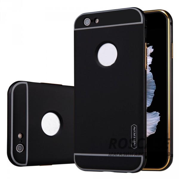 Металлическая накладка + Автодержатель Nillkin для Apple iPhone 6/6s plus (5.5) (Черный)Описание:производитель  - &amp;nbsp;Nillkin;совместим с Apple iPhone 6/6s plus (5.5);материал  -  металл;тип  -  накладка.&amp;nbsp;Особенности:прочная;в комплекте автомобильный держатель;олеофобное покрытие;окошко для логотипа;защищает от механических повреждений;функция подставки.<br><br>Тип: Чехол<br>Бренд: Nillkin<br>Материал: Металл
