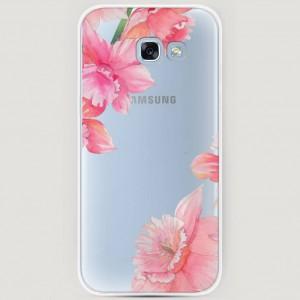 RosCase | Силиконовый чехол Розовые цветочные уголки на Samsung A520 Galaxy A5 (2017) для Samsung Galaxy A5 2017 (A520F)