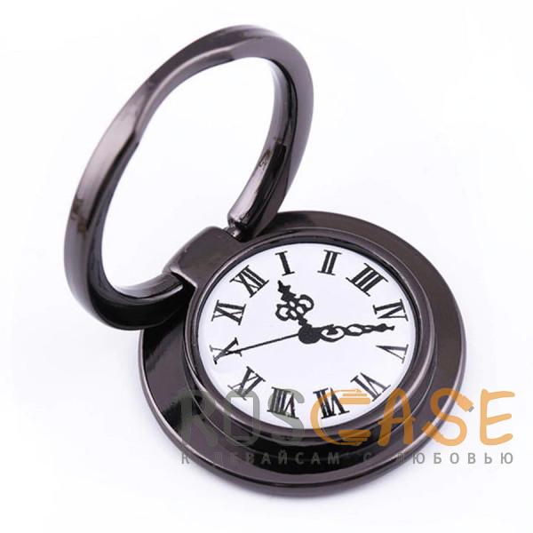 """Фото Черный Универсальный магнитный держатель с кольцом для телефона """"Часы"""""""
