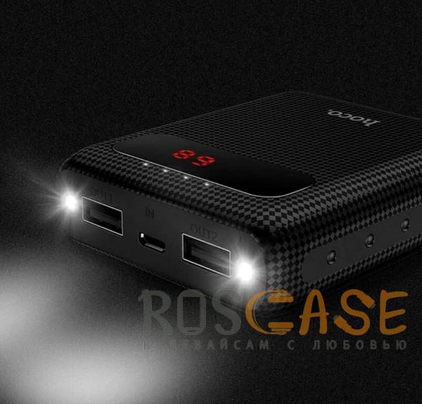Фото Черный HOCO B20 | Портативное зарядное устройство Power Bank с двумя выходами USB и экраном (10000 mAh)