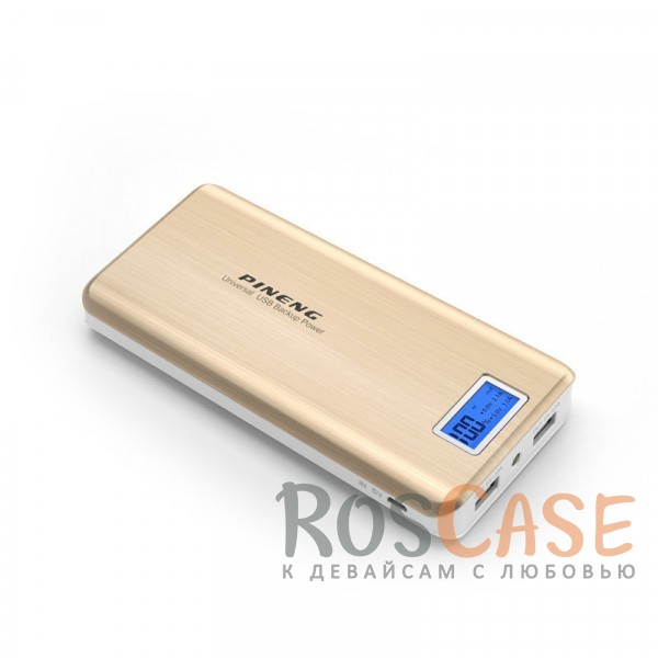 Фото Золотой Портативное зарядное устройство в противоударном корпусе с ЖК дисплеем и фонариком 20000mAh (2 USB)