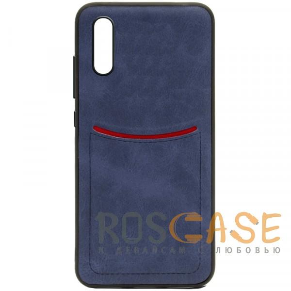 Фото Синий ILEVEL | Чехол с кожаным покрытием и с карманом-визитницей для Huawei P20
