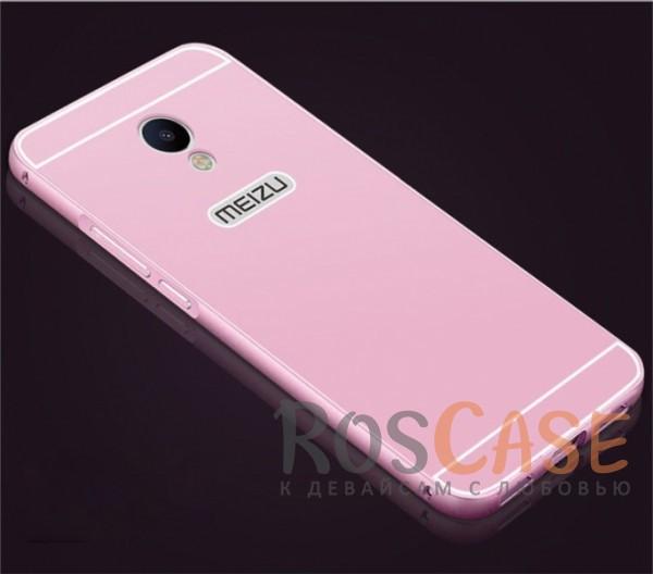 Фото Розовый Металлический бампер для Meizu M3 / M3 mini / M3s с акриловой вставкой