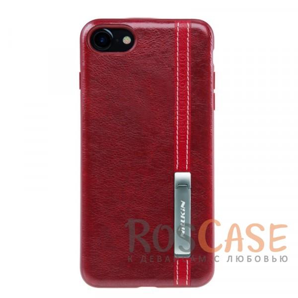 Классическая кожаная накладка с металлической подставкой для Apple iPhone 7 / 8 (4.7) (Красный)Описание:бренд Nillkin;разработан для Apple iPhone 7 / 8 (4.7);материалы: искусственная кожа, TPU;формат: накладка;функция подставки;защита от ударов и царапин;не скользит в руках;металлическая пластина внутри.<br><br>Тип: Чехол<br>Бренд: Nillkin<br>Материал: Искусственная кожа