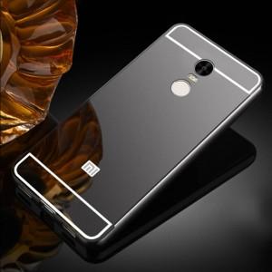 Металлический бампер для Xiaomi Redmi Note 4X / Note 4 (SD) с зеркальной вставкой