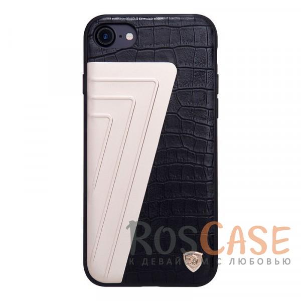 Кожаная накладка Nillkin Hybrid Series для Apple iPhone 7 (4.7) (Черный)Описание:произведено брендом&amp;nbsp;Nillkin;совместимость - Apple iPhone 7 (4.7);материалы: поликарбонат, термополиуретан, металл, искусственная кожа;тип: накладка.&amp;nbsp;Особенности:оригинальный дизайн;вставка с фактурой крокодиловой кожи;двухцветный стиль;анти-отпечатки;не скользит в руках;защищает заднюю панель и боковые грани.<br><br>Тип: Чехол<br>Бренд: Nillkin<br>Материал: Искусственная кожа